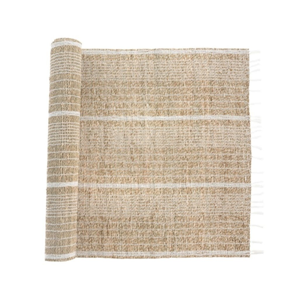 White Striped Seagrass Table Runner