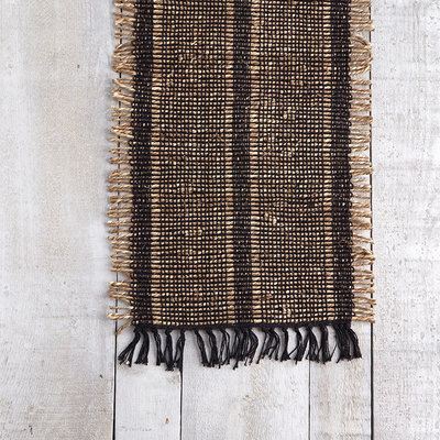 Bali Natural Edge Black Table Runner