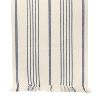 Soft Blue Striped Table Runner