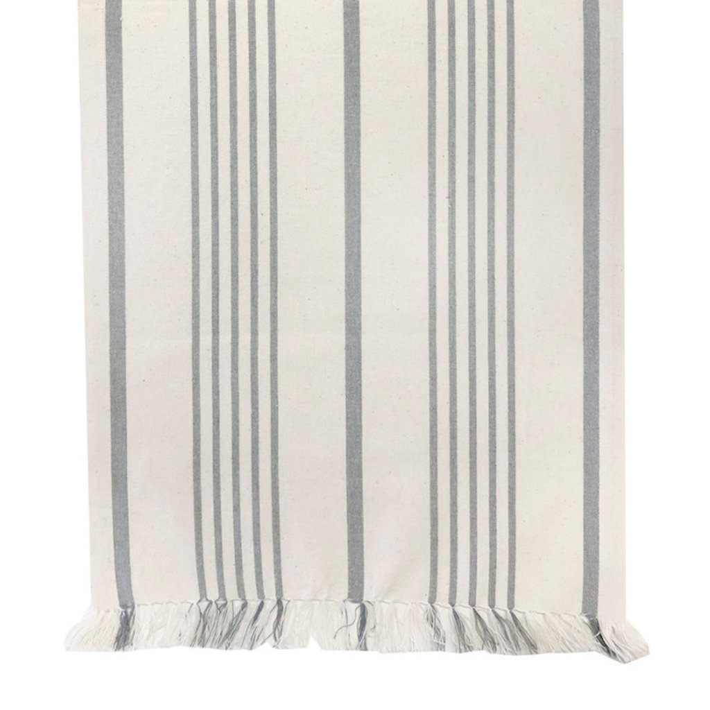 Soft Grey Striped Table Runner