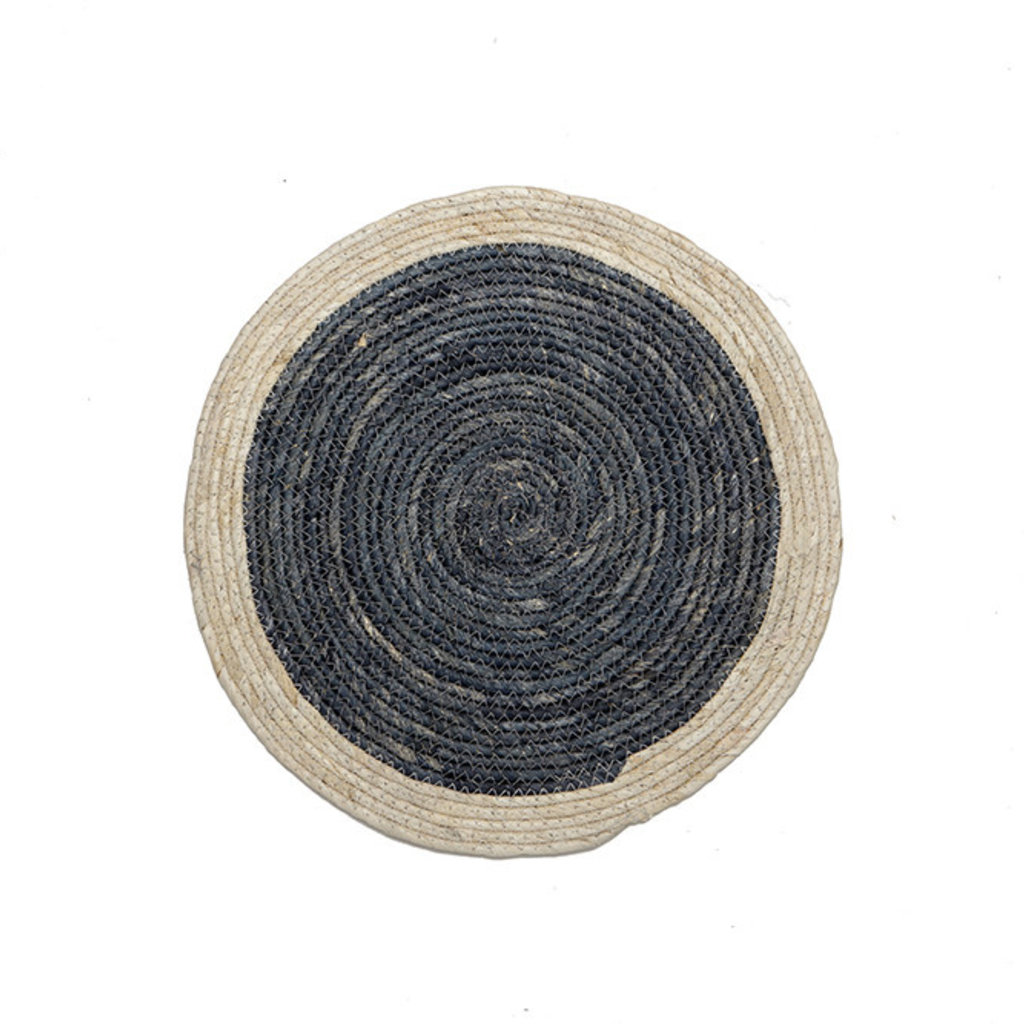 Natural Navy Round Placemat