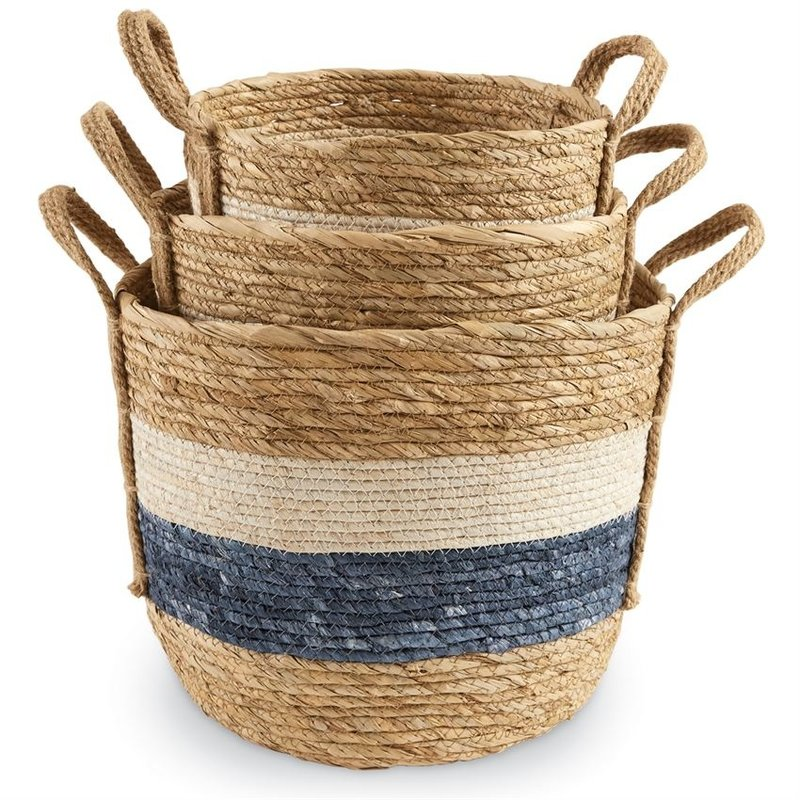 Blue & White Striped Baskets