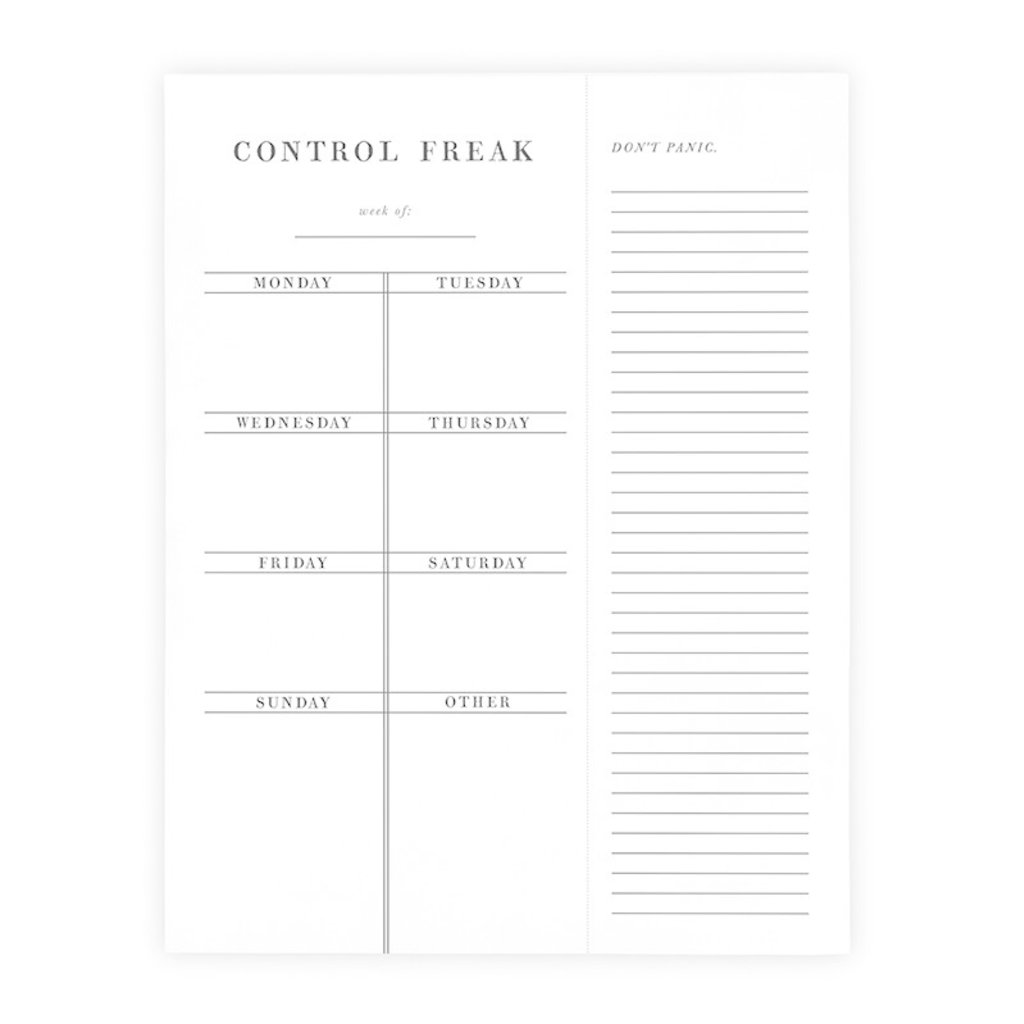 Control Freak Weekly Planner