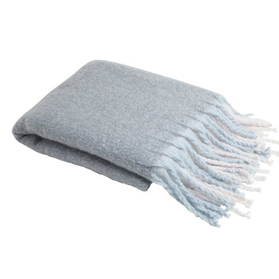 Aqua Window Pane Knit Throw