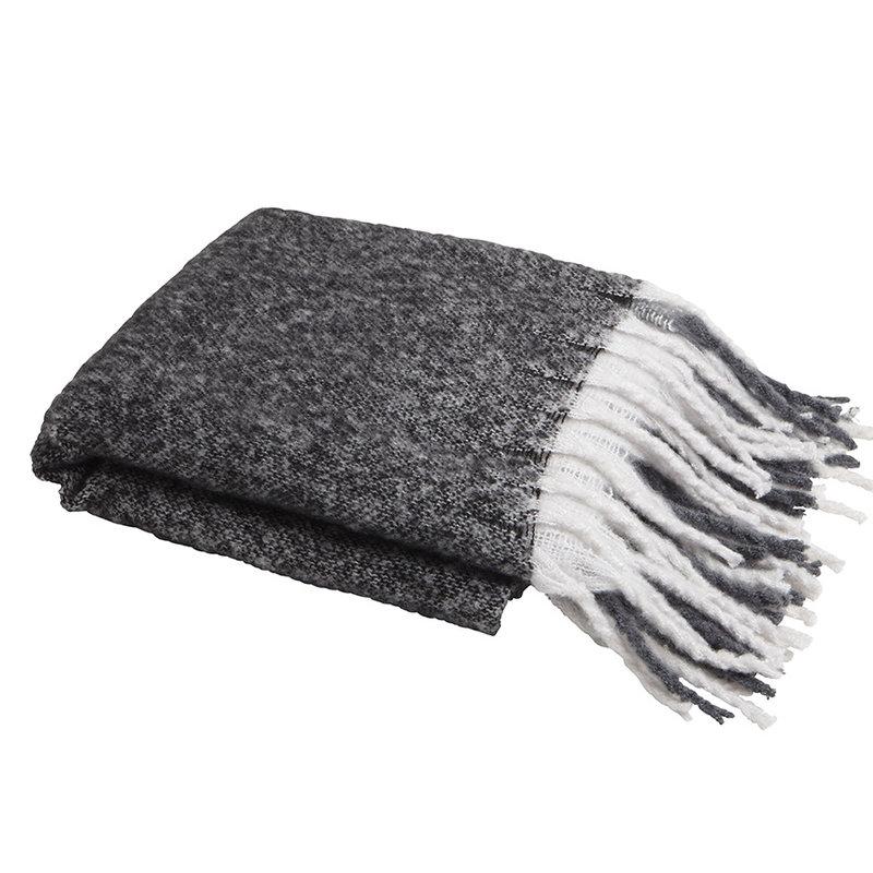 Charcoal Window Pane Knit Throw