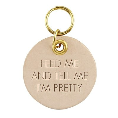Feed Me Leather Pet Tag