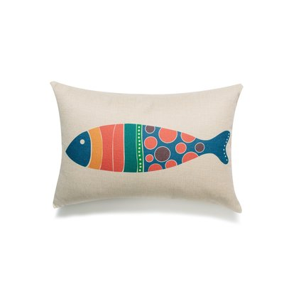 Blue/Red Fish Lumbar Pillow