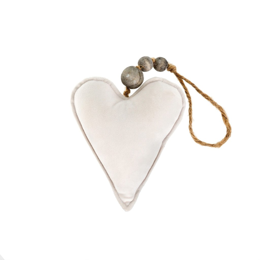 Small Cream Velvet Heart Ornament