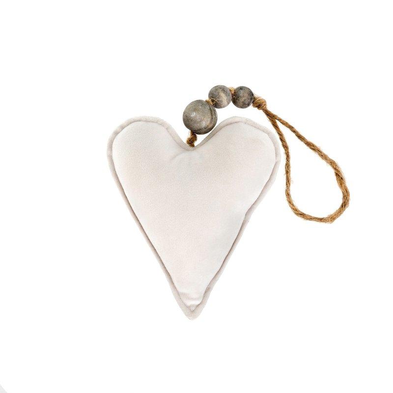 Small Cream Velvet Heart Ornament