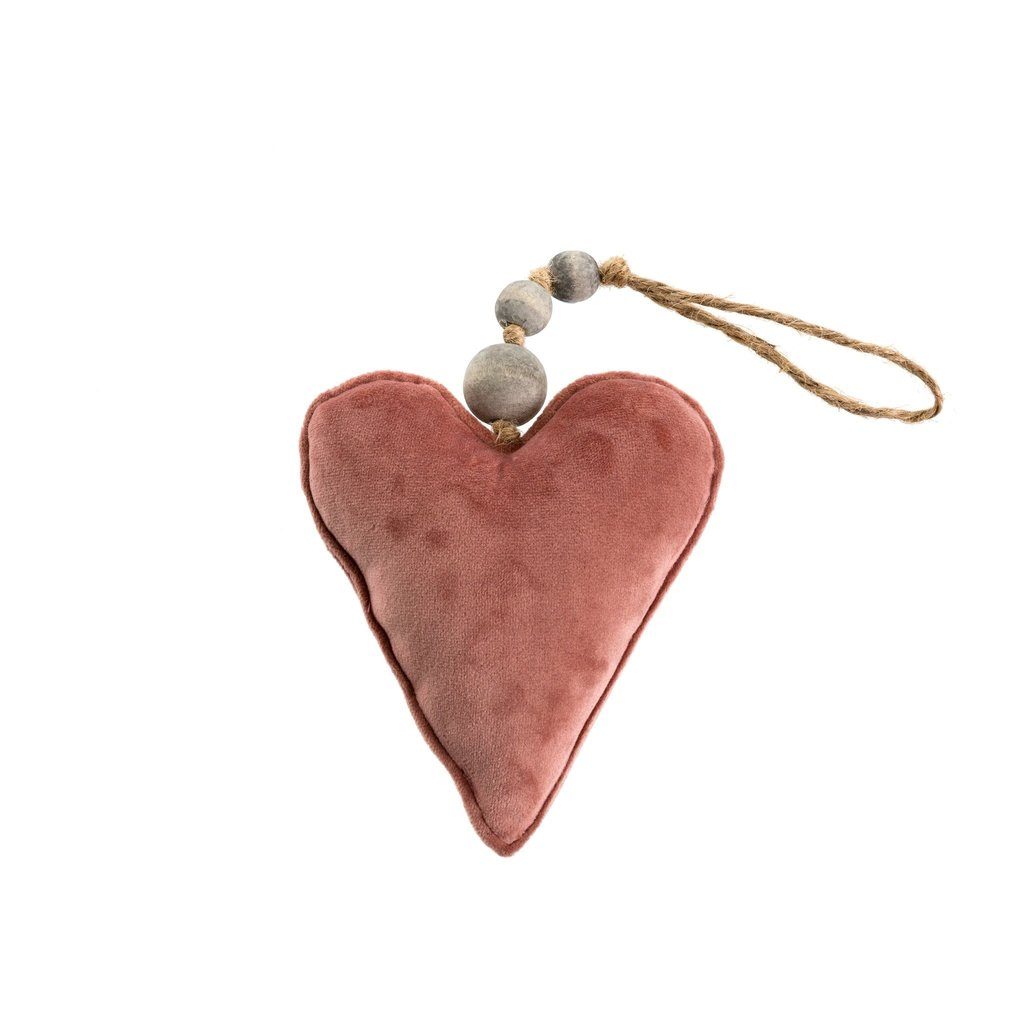 Small Blush Velvet Heart Ornament