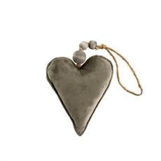 Small Grey Velvet Heart Ornament