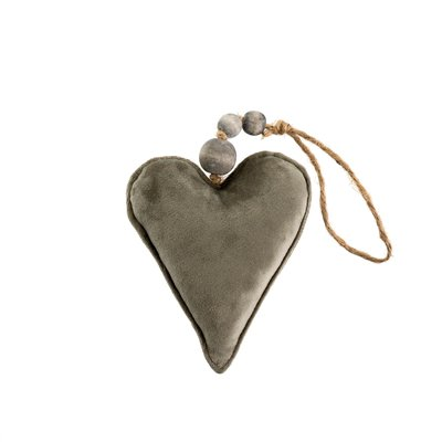 Small Grey Velvet Heart Ornament