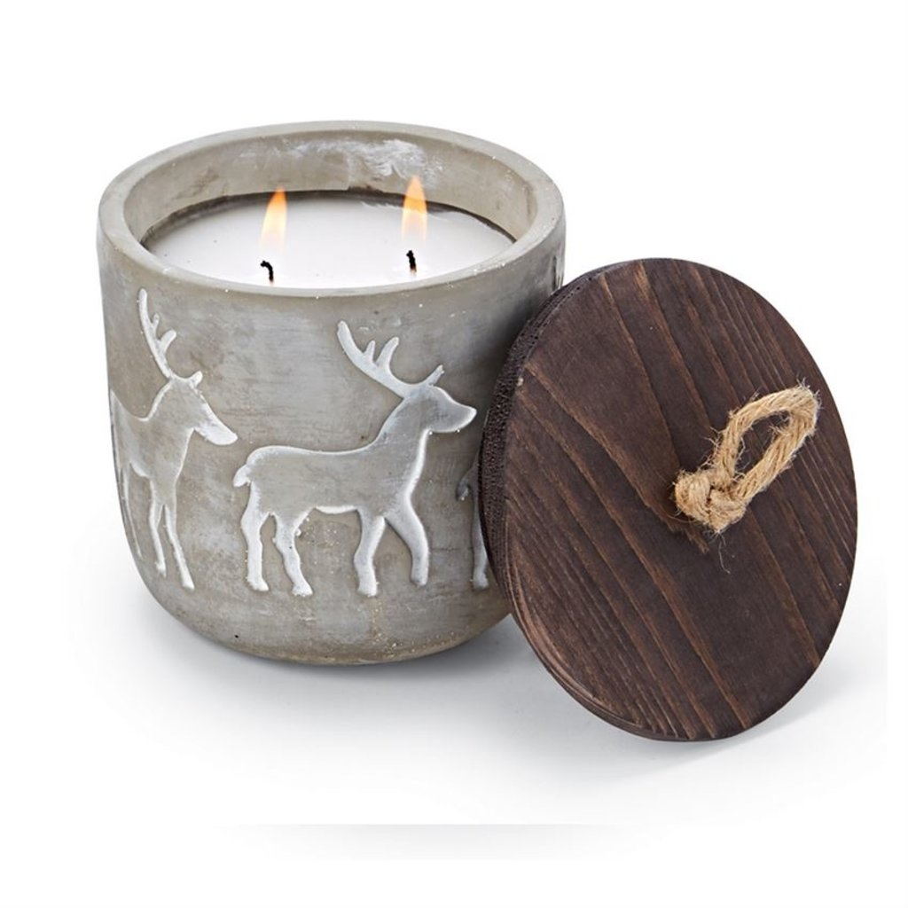 Standing Deer Concrete Candle