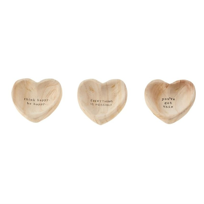 Wooden Heart Trinket Bowls