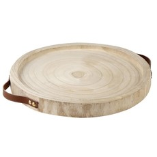 Natural Paulownia Leather Handle Tray