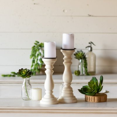 Set/2 Wood Candle Holders