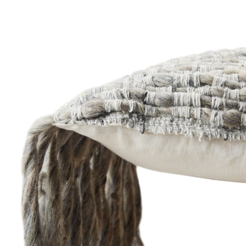 Silver Grey Angora Lumbar Pillow