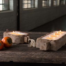 2 Wick Driftwood Candle Tray