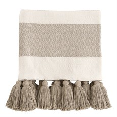 Taupe Tassel Throw