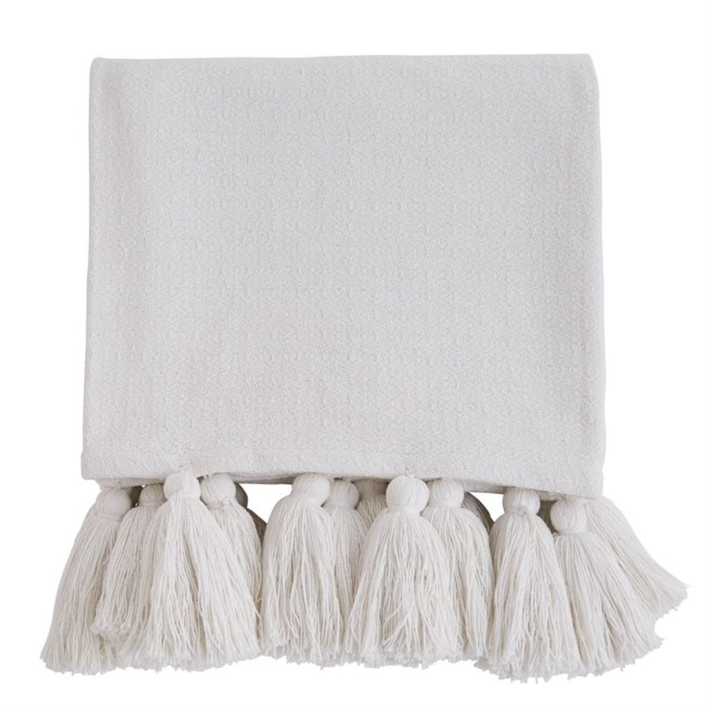White Tassel Throw