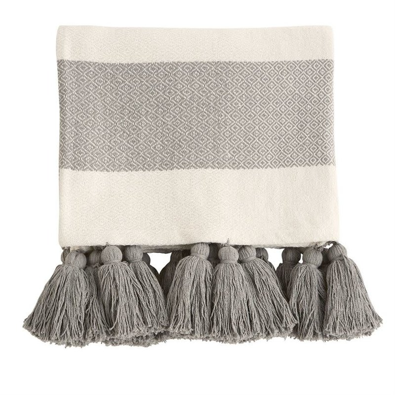 Grey Tassel Throw