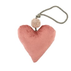 Small Blush Velvet Heart With Sparkly Bead