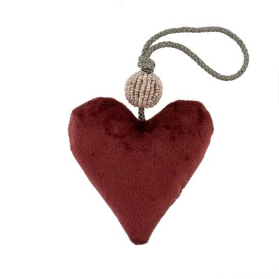 Burgundy Velvet Heart With Beads