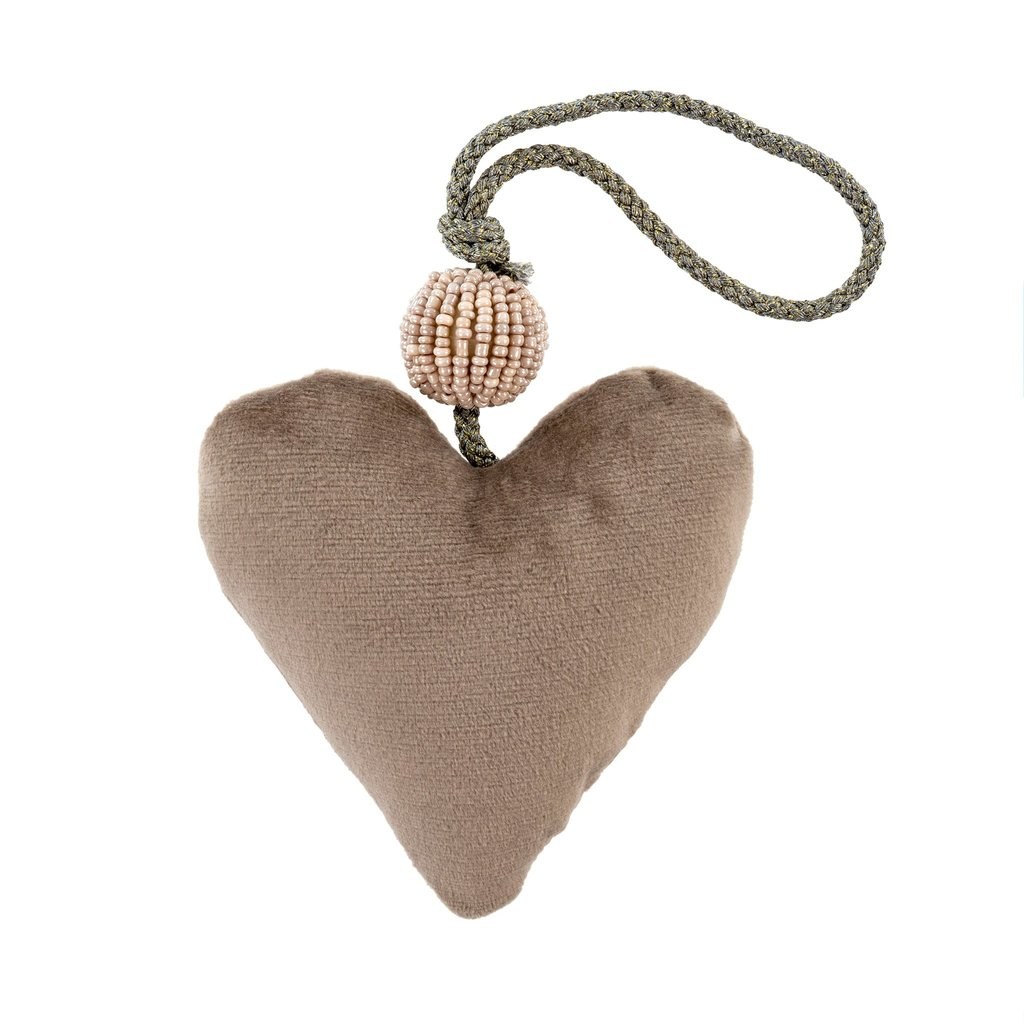 Small Grey Velvet Heart With Sparkly Bead