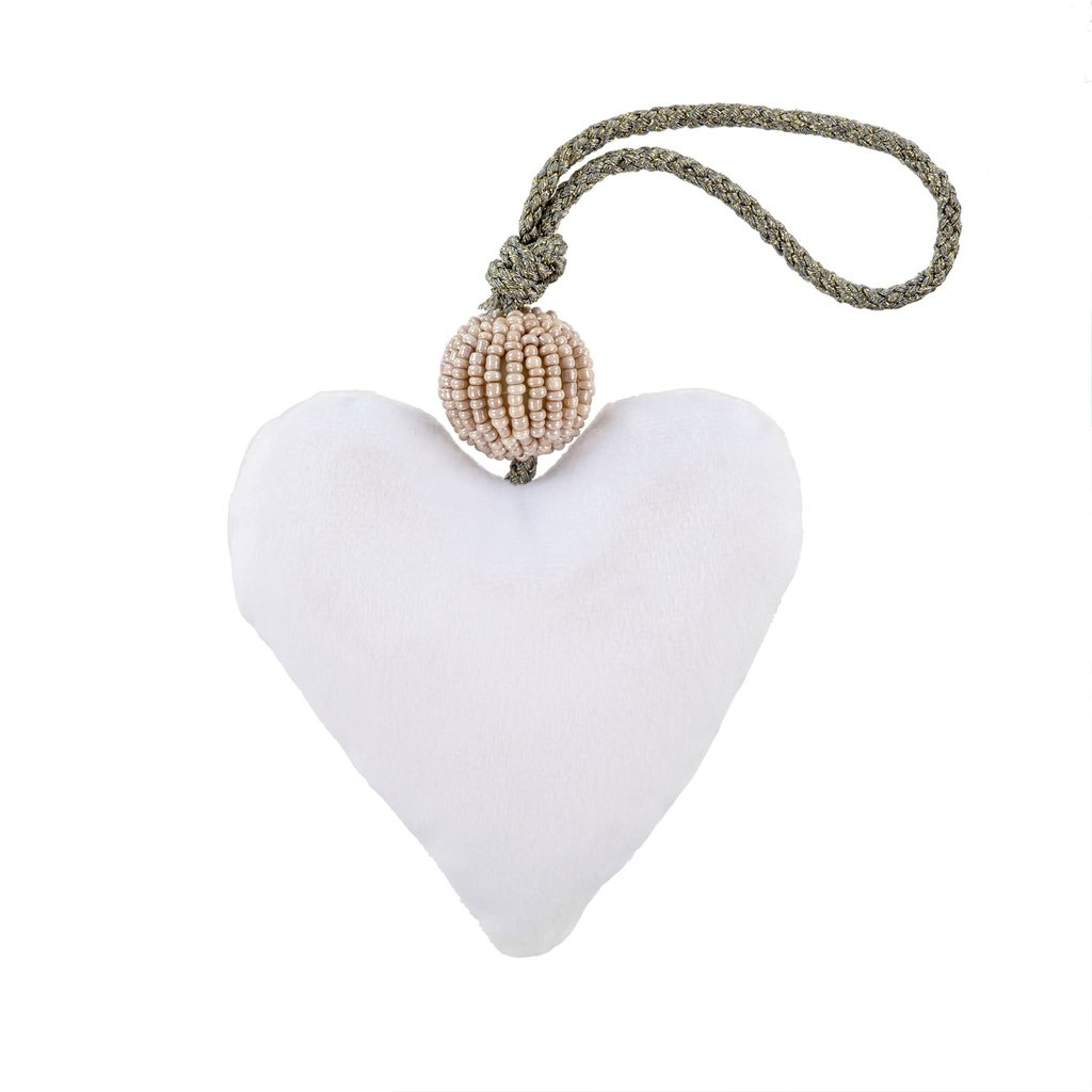 White Velvet Heart With Beads