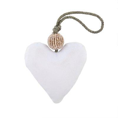 White Velvet Heart With Beads