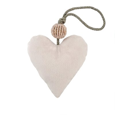 Small Cream Velvet Heart With Sparkly Bead