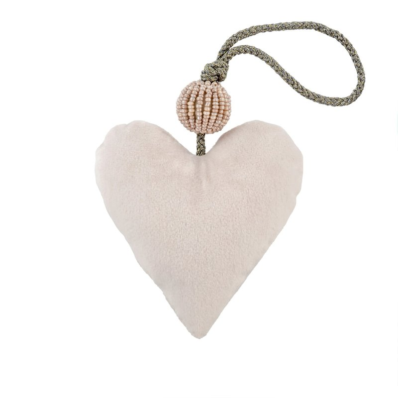 Small Cream Velvet Heart With Sparkly Bead