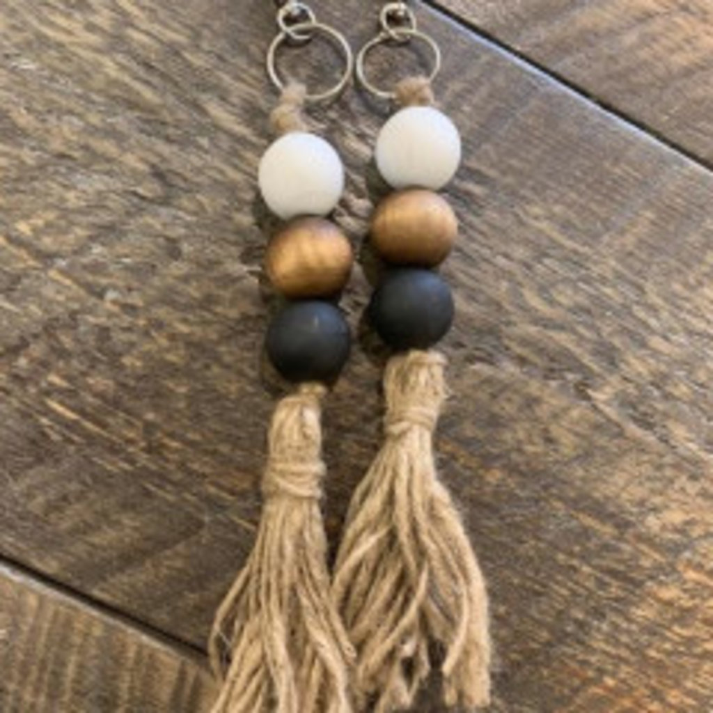 Wood Bead Keychain