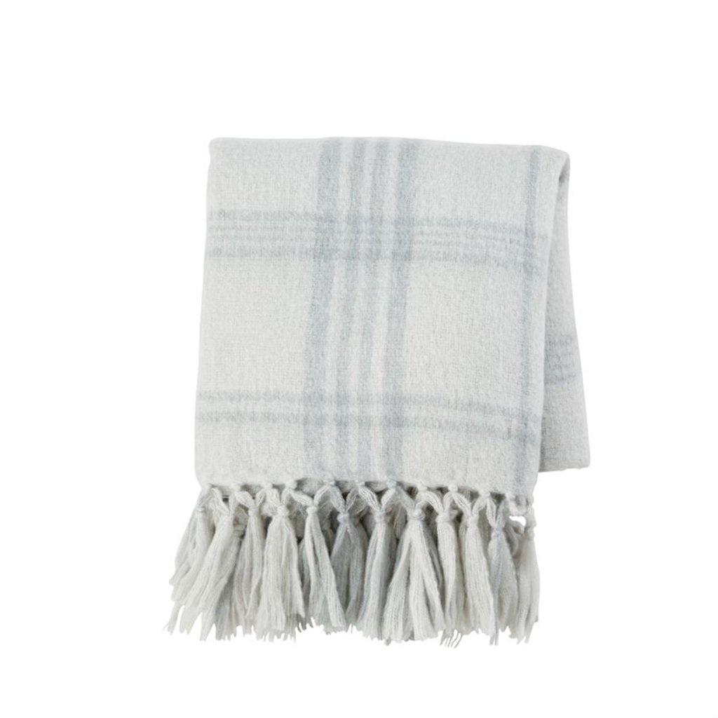 Light Grey Plaid Throw