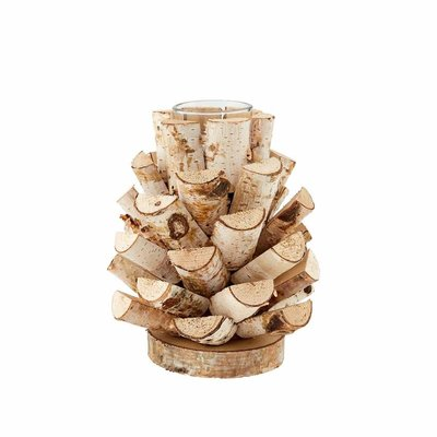 Light Birch Candle Holder