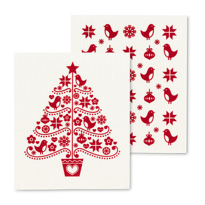 S/2 Holiday Tree Dishcloths