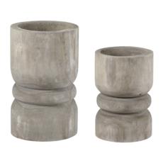 Grey Paulownia Candle Holders