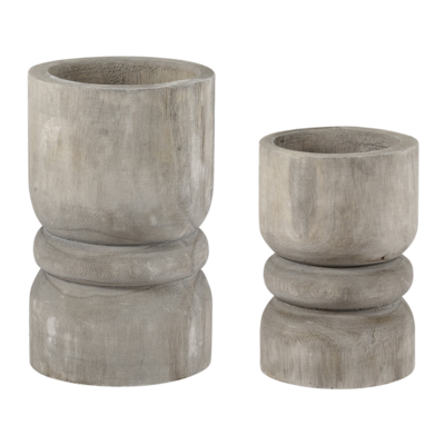 Grey Paulownia Candle Holders