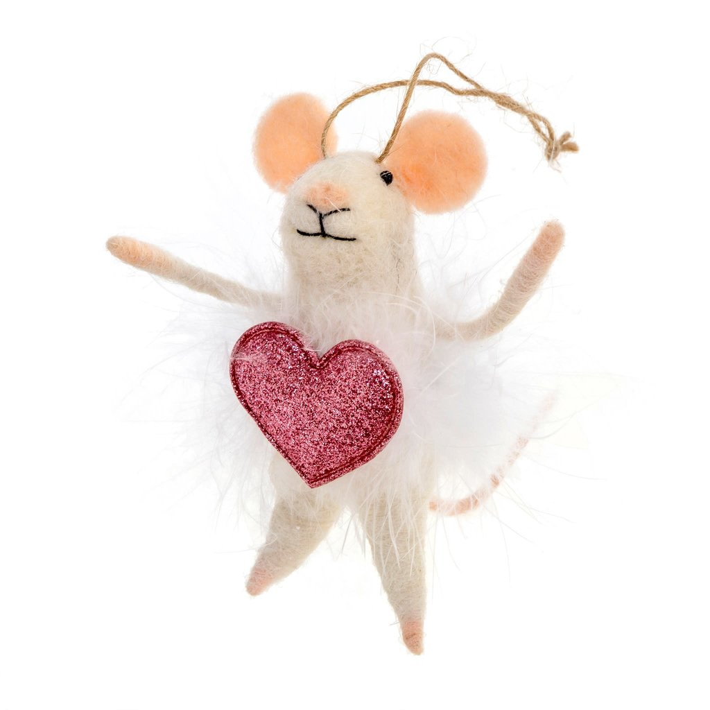 Heart Mouse Ornament
