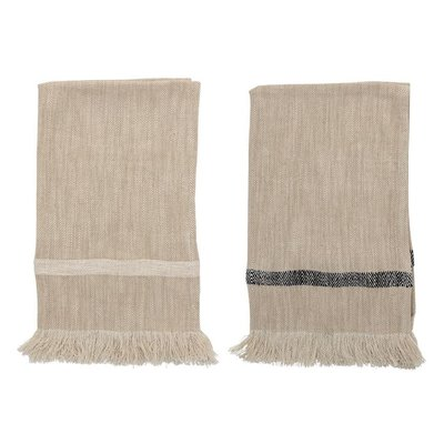 Set of 2 Woven Cotton Striped  Towels
