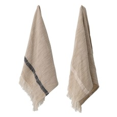 S/2 Woven Cotton Striped  Towels