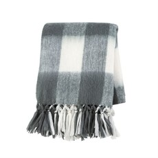 Grey Brushed Checkered Throw