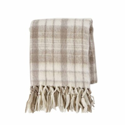 Tan Brushed Checkered Throw