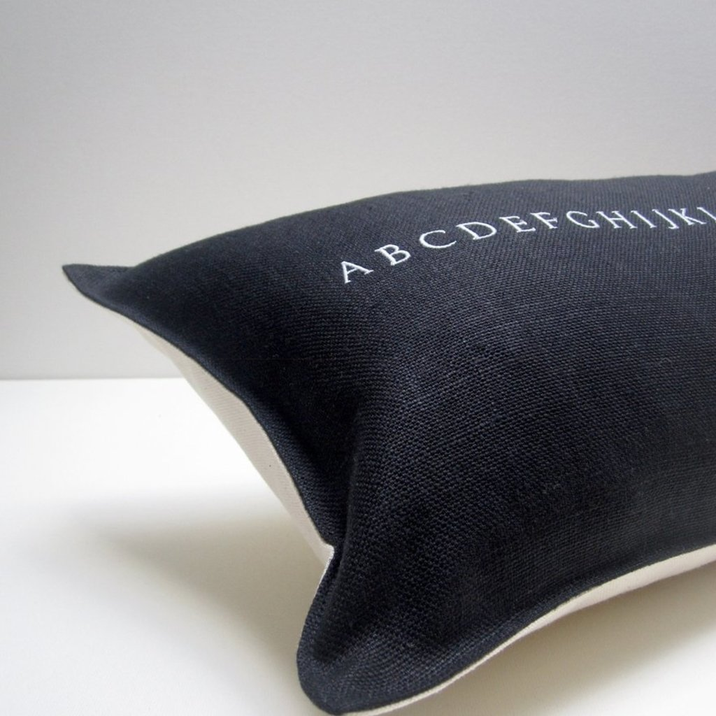 Black Linen Alphabet Pillow