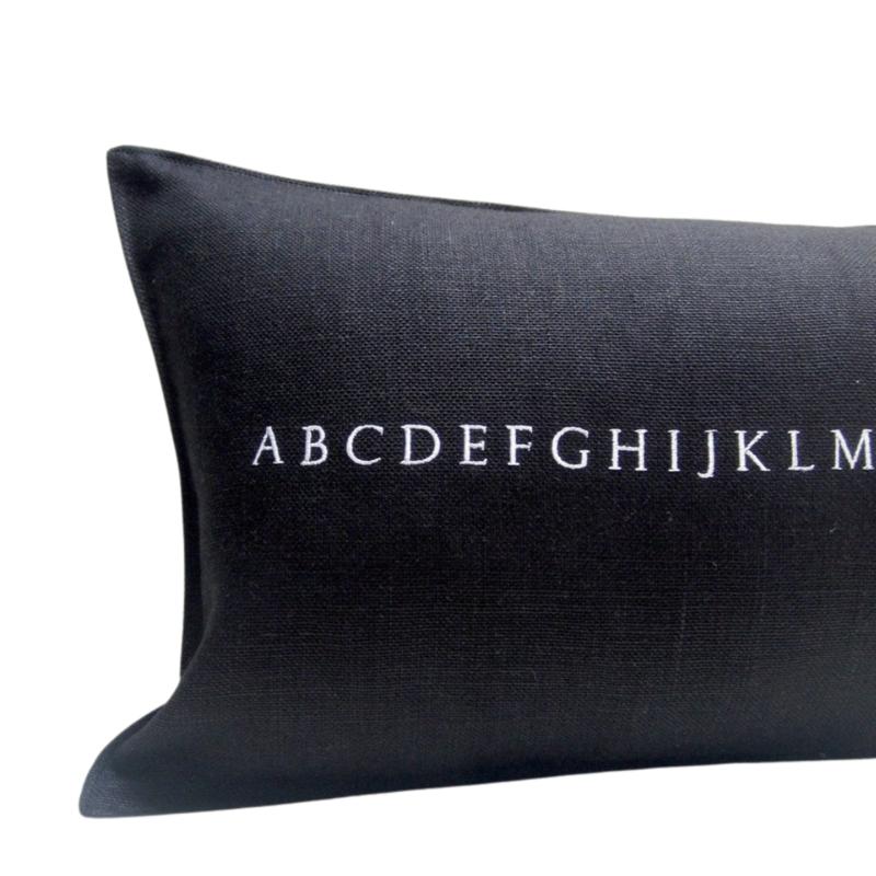 Black Linen Alphabet Pillow