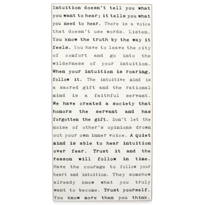 Intuition Typewriter Sign