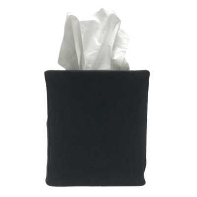 Black Square Linen Tissue Cover