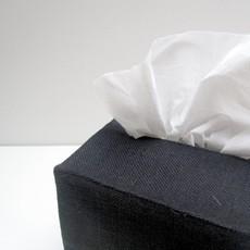 Black Square Linen Tissue Cover