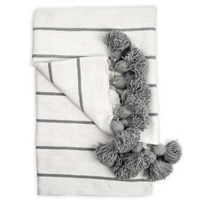 Classic Grey Pom Pom Throw