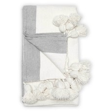 Bordered White Pom Pom Throw